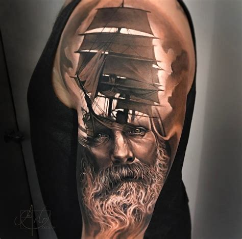 sailing tattoo designs sailing ship bearded sailor best design ideas