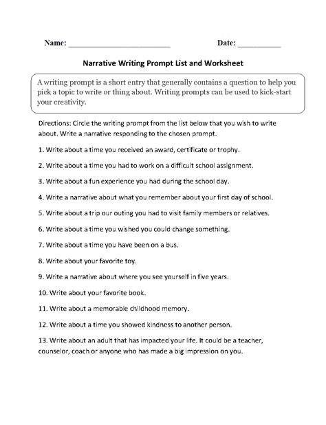 14 best images of worksheets 4th grade narrative writing narrative writing prompts worksheets