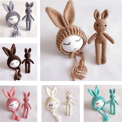 Handmade Photo Props - newborn photography props crochet rabbit baby hat handmade