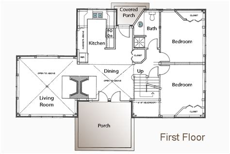 small cabin house floor plans post and beam floor plan - 3 Bedroom Guest House Plans