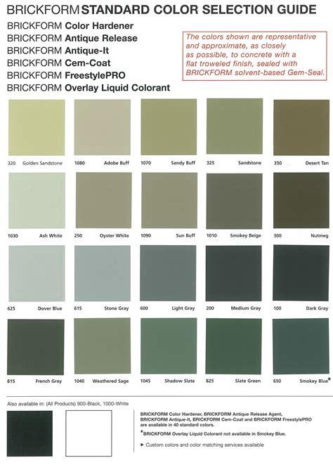 concrete color chart concrete colour charts smoothcrete
