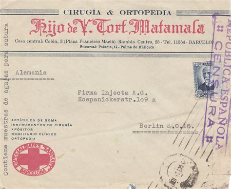 Brief Schweiz Spanien spanien brief aus palma nach berlin zensur 183 philarena