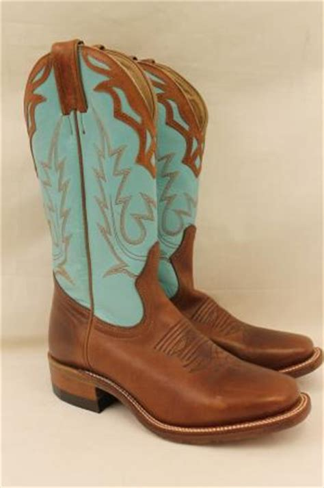 womens boulet teal brown leather western fancy cowboy