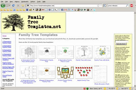 Printable Family Tree Templates Available For Download At New Web Site Crowe S Nest By Family Tree Website Template