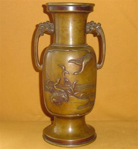 Antique Japanese Vase Value by Antique Japanese Meiji Period Bronze Flower Vase C 1890
