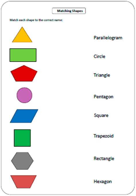 shapes worksheet with names shapes worksheets and charts