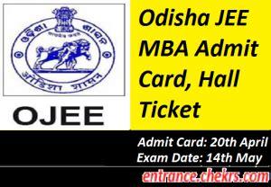 Mba Cet Admit Card 2017 by Odisha Jee Mba Admit Card 2017 Ojee Mba Entrance