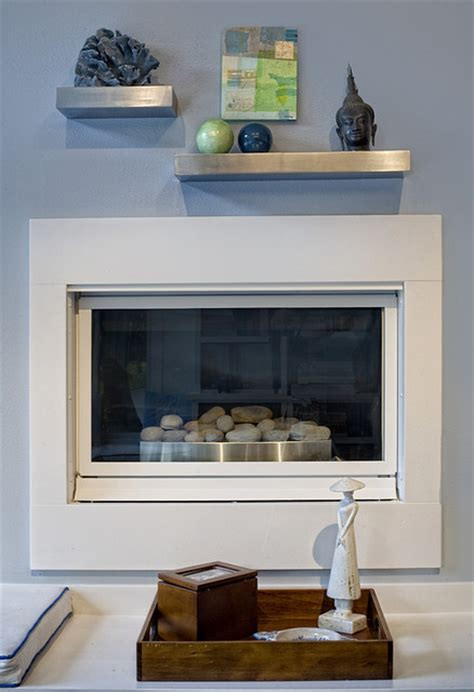 floating wall fireplace contemporary living room