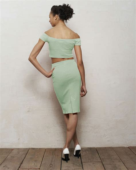 crop top and pencil skirt set in mint green