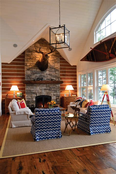 small funky cottage rustic living room toronto