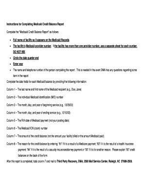 Medicare Credit Balance Form nc medicaid credit balance report fill printable fillable blank pdffiller