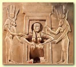 Isis in ancient carvings giving birth on a birth chair or stool