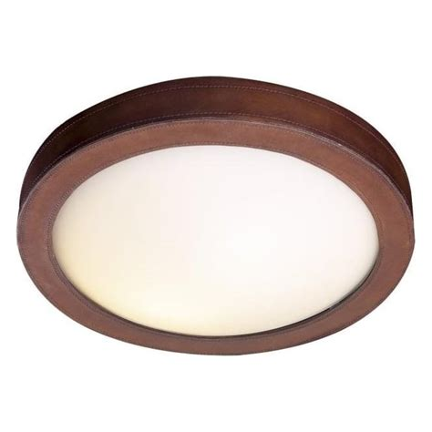 Ceiling Light Surround Flush Flush Fitting Ceiling Light With Brown Leather Surround