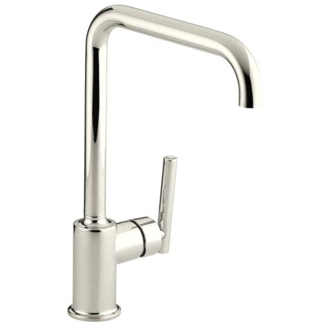 kohler purist kitchen faucet shop kohler purist vibrant polished nickel 1 handle high arc kitchen faucet at lowes