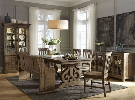 Magnussen Dining Room Furniture Willoughby Weathered Barley Extendable Dining Room Set From Magnussen Home Coleman Furniture