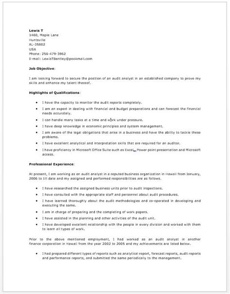 Audit Analyst Sle Resume by 1000 Images About Resume On