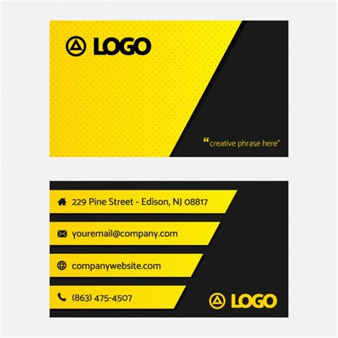 black and yellow business card vector free download