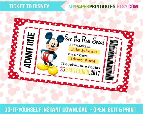 printable disneyland tickets printable ticket to disney diy personalize instant download