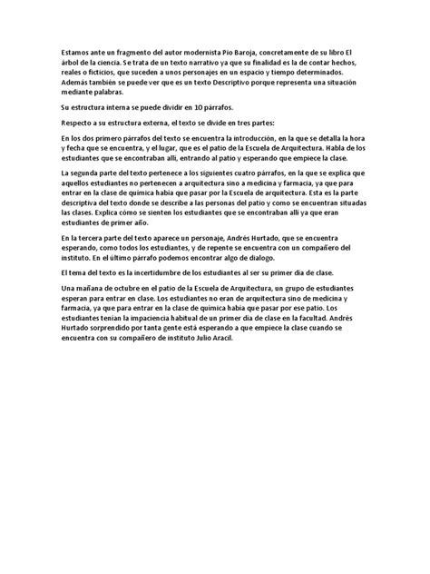 El Arbol de La Ciencia, Pio Baroja (Fragmento)-Comentario