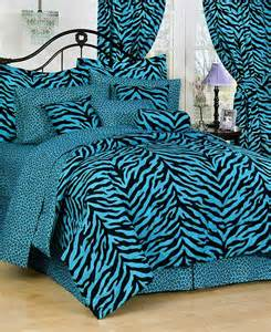 blue zebra print bed in a bag set extra long twin