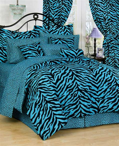 Zebra Stripe Bedding Set Blue Zebra Print Bed In A Bag Set Bedding Bed Bag Complete