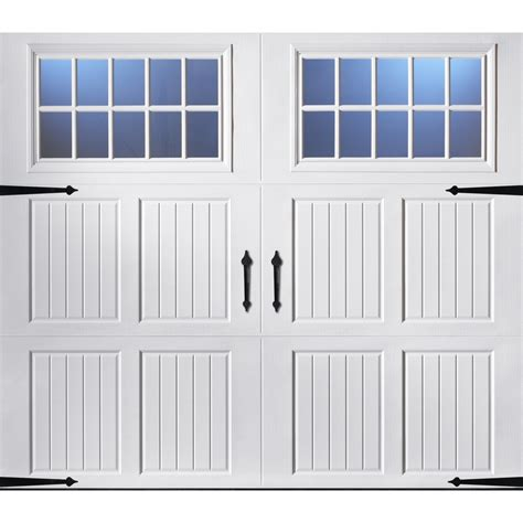 Lowes Insulated Garage Doors Shop Pella Carriage House 96 In X 84 In Insulated White Single Garage Door With Widows At Lowes