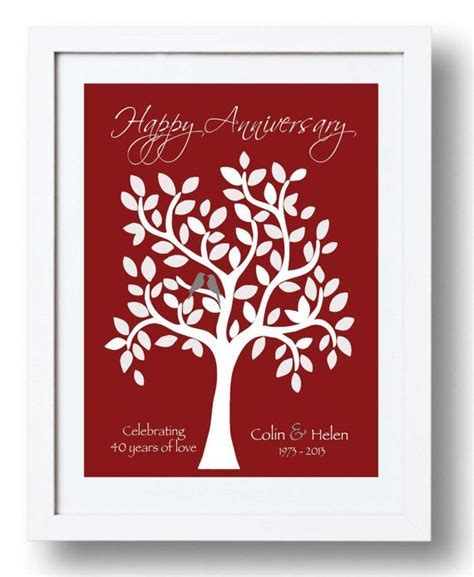 40th Anniversary Gift for Parents   40th Ruby Anniversary