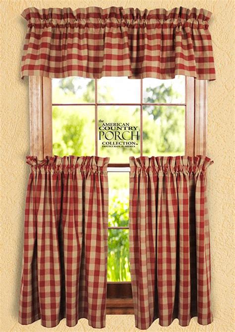 checked curtains country wine tea dyed buffalo check curtain collection primitive