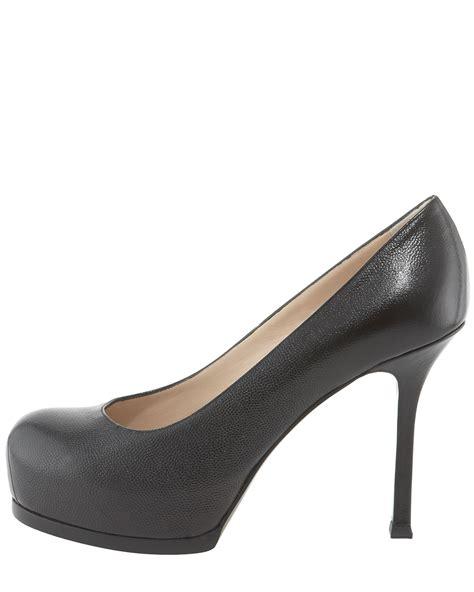 ysl womens tribtoo mid heel textured platform cishoes
