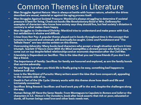 Themes In Literature About Nature | list everything you know about literary analysis ppt