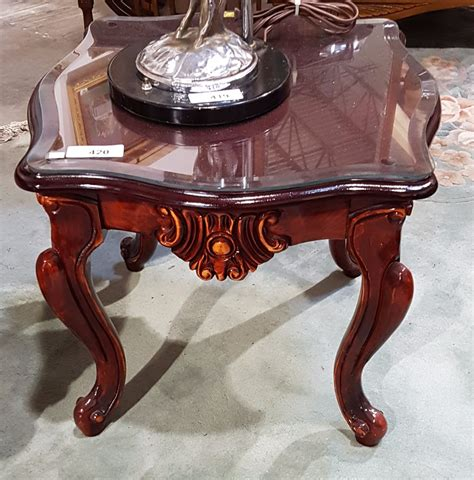 carved end tables carved mahogany end table w glass top grande estate auction