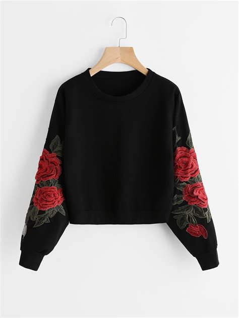 Roses Embriodery Sweater by Embroidered Applique Sweatshirt Shein Sheinside