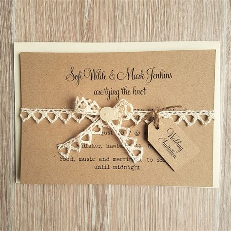 Vintage Wedding Invitations rustic vintage lace and button wedding invitations
