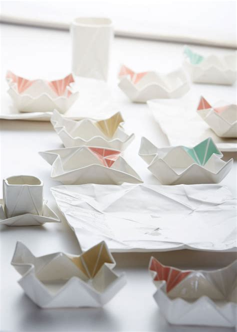 Creative Origami - creative origami shaped ceramic tableware and glasses