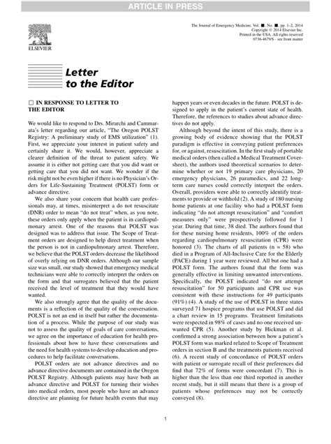 (PDF) Letter to the Editor IN RESPONSE To Letter To The Editor