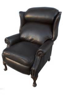 chesterfield leather wing back recliner regency