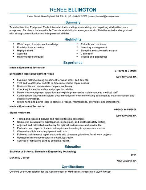 Medical Equipment Technician Resume Examples