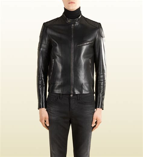 Jaket Fashion Gucci 5 gucci black leather and wool combo biker jacket in black for lyst