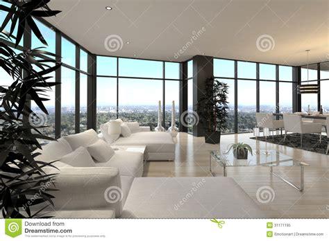 wohnzimmer architektur moderner entwurfs dachboden wohnzimmer architektur stock