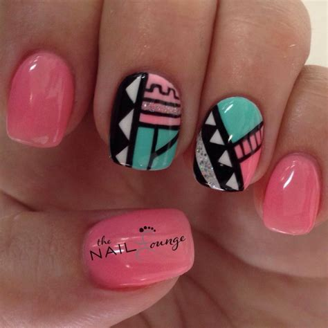geometric pattern nails tribal geometric aztec nail art design nail art