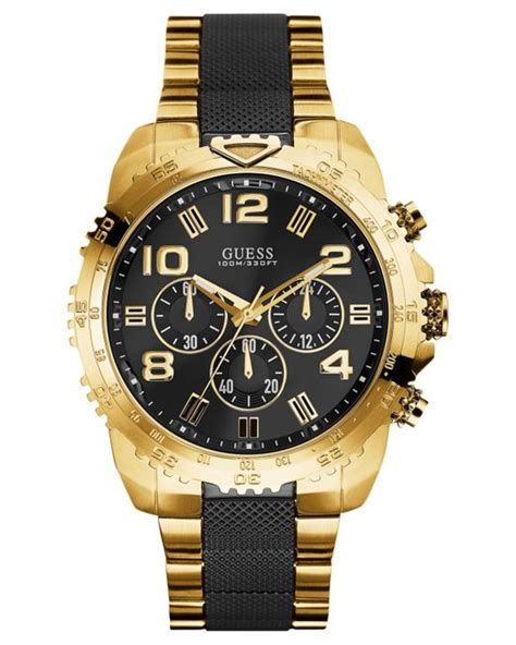 guess s chronograph black and gold tone stainless