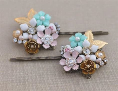 vintage collage jeweled bridal bobby pin pastel mint green