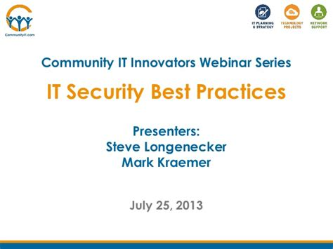 community it innovators it security best practices