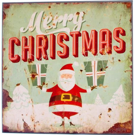 retro merry christmas metal holiday sign gifts  craftoutletcom