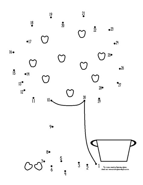 Tree Dot To Dot Coloring Pages Fun Learning Printables For Kids by Tree Dot To Dot Coloring Pages