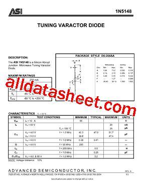 varactor diode datasheet 1n5148 datasheet pdf advanced semiconductor