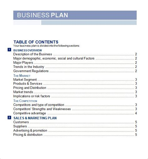 free business plan template pdf bussines plan template 17 free documents in