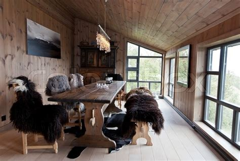 Interior Design For Log Homes Traditionall Norwegian House Interior Stock Photo