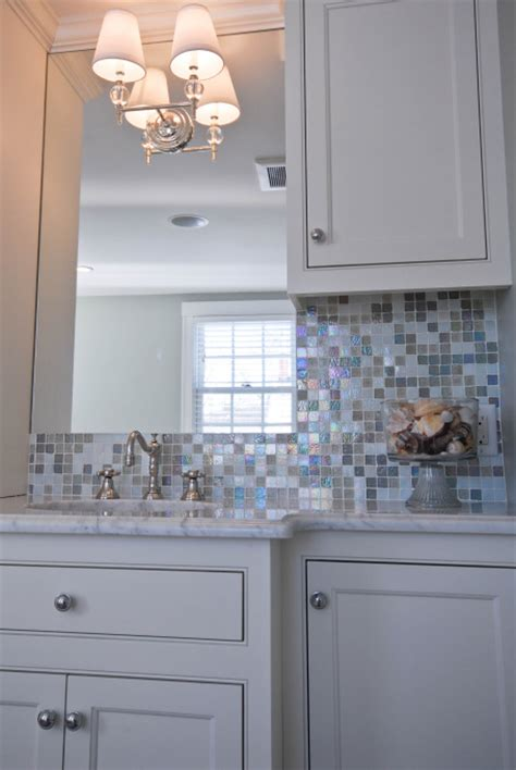 blue and white tile backsplash iridescent glass tiles contemporary bathroom hgtv