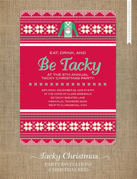 tacky christmas party invitations eat drink and be